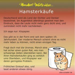 Hundert Worte über Hamsterkäufe